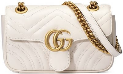White GG Marmont 2.0 Mini Matelasse Shoulder Bag-Gucci