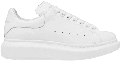 White Leather Exaggerated-Sole Sneakers-Alexander McQueen