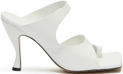 White Open Toe Ring Leather Mules-Bottega Veneta