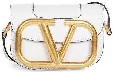 White Small Supervee Leather Saddle Bag-Valentino