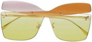 Yellow Kaligraphy Colour-Block Sunglasses-Fendi