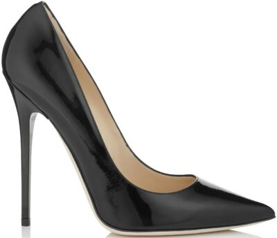 Anouk Black Patent Leather Pointed Pumps-Jimmy Choo