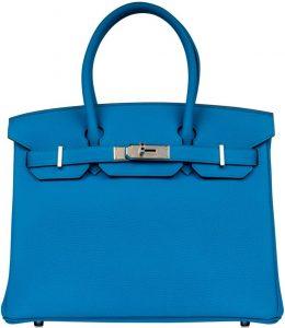 Blue Zanzibar Togo Birkin 30 Handbag-Hermès