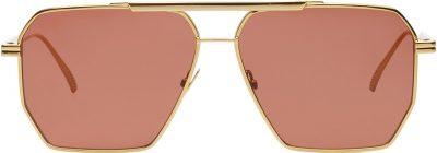 Brown Square-Frame Aviator Metal Sunglasses