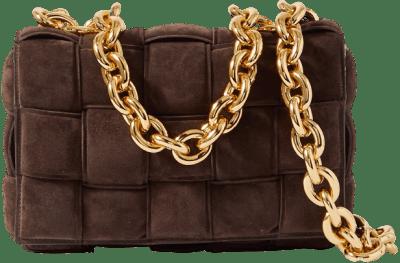 Dark Brown Cassette Intrecciato Suede Shoulder Bag