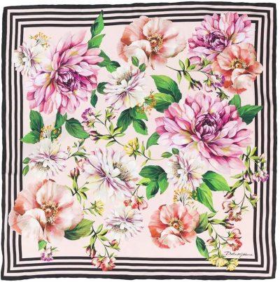 Floral Rose Print Scarf-Dolce & Gabbana