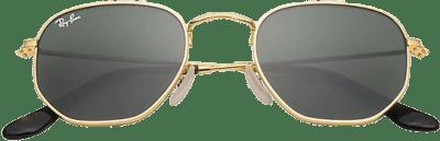 Gold Frame Hexagonal Flat Lens Sunglasses-Ray-Ban