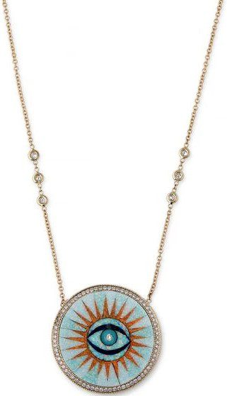 Gold Opal Inlay Eye Burst Necklace-Jacquie Aiche