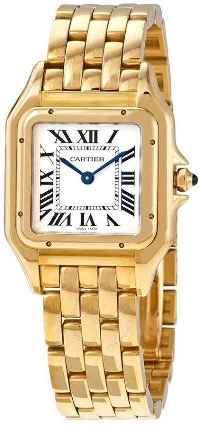 Gold Panthere De Medium Silver Dial Watch-Cartier