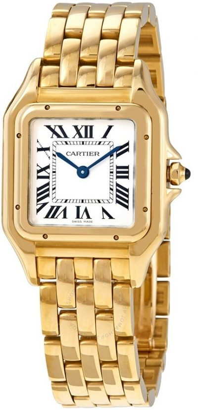 Gold Panthere de Medium Silver Dial Watch