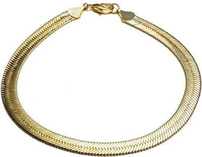 Gold Short Herringbone Chain Necklace-