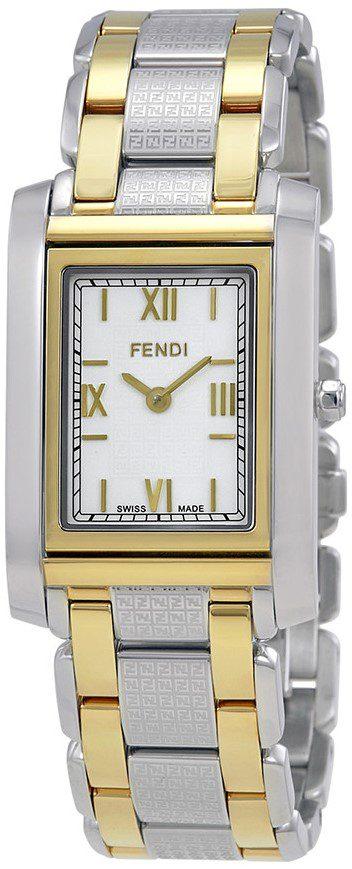 Loop White Dial Two Tone Rectangular Watch-Fendi