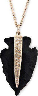 Pave Black Agate Arrowhead Necklace