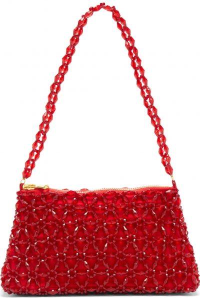 Red Dawson Floral-Beaded Bag