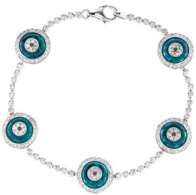 Silver And Blue Evil Eye Bracelet