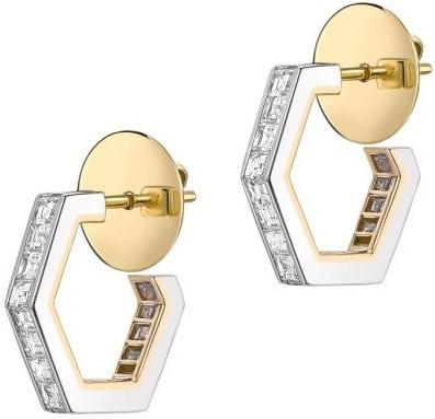 White Gold Hex Medium Hoop Earrings-Jessica Mccormack