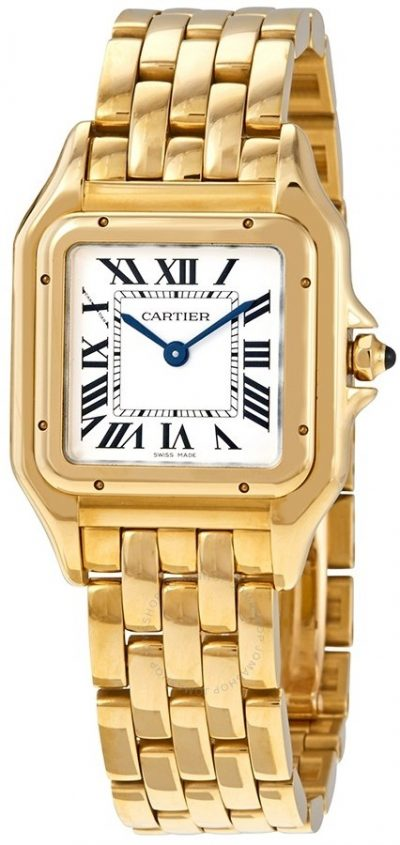 Yellow Gold Panthere De Medium Silver Dial Watch-Cartier