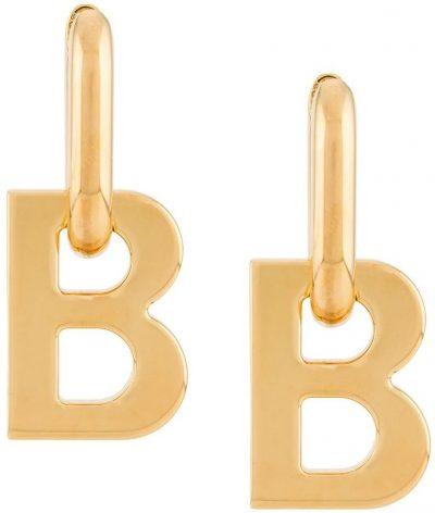 Gold B-Logo Earrings-Balenciaga