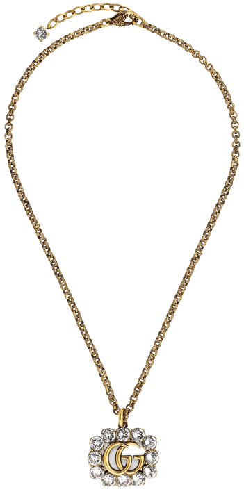 Gold Crystal Double G Necklace-Gucci