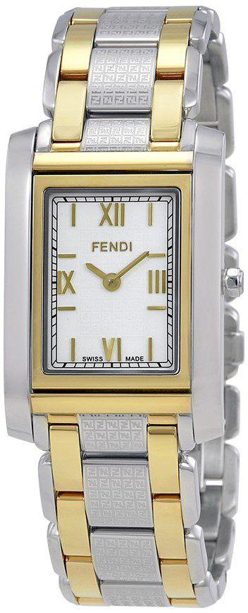 Loop White Dial Two Tone Rectangular Watch-Fendi