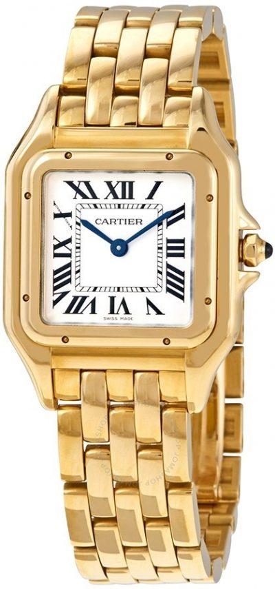 Yellow Gold Panthere De Cartier Medium Silver Dial Watch-Cartier