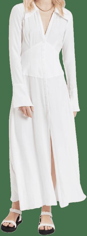 White Long Sleeve Maxi Dress-Bec And Bridge