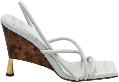 White Strappy Leather Sandals-Gia Borghini
