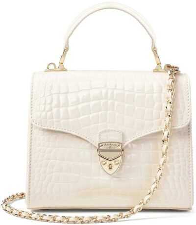 White Ivory Patent Croc Mayfair Bag-Aspinal Of London