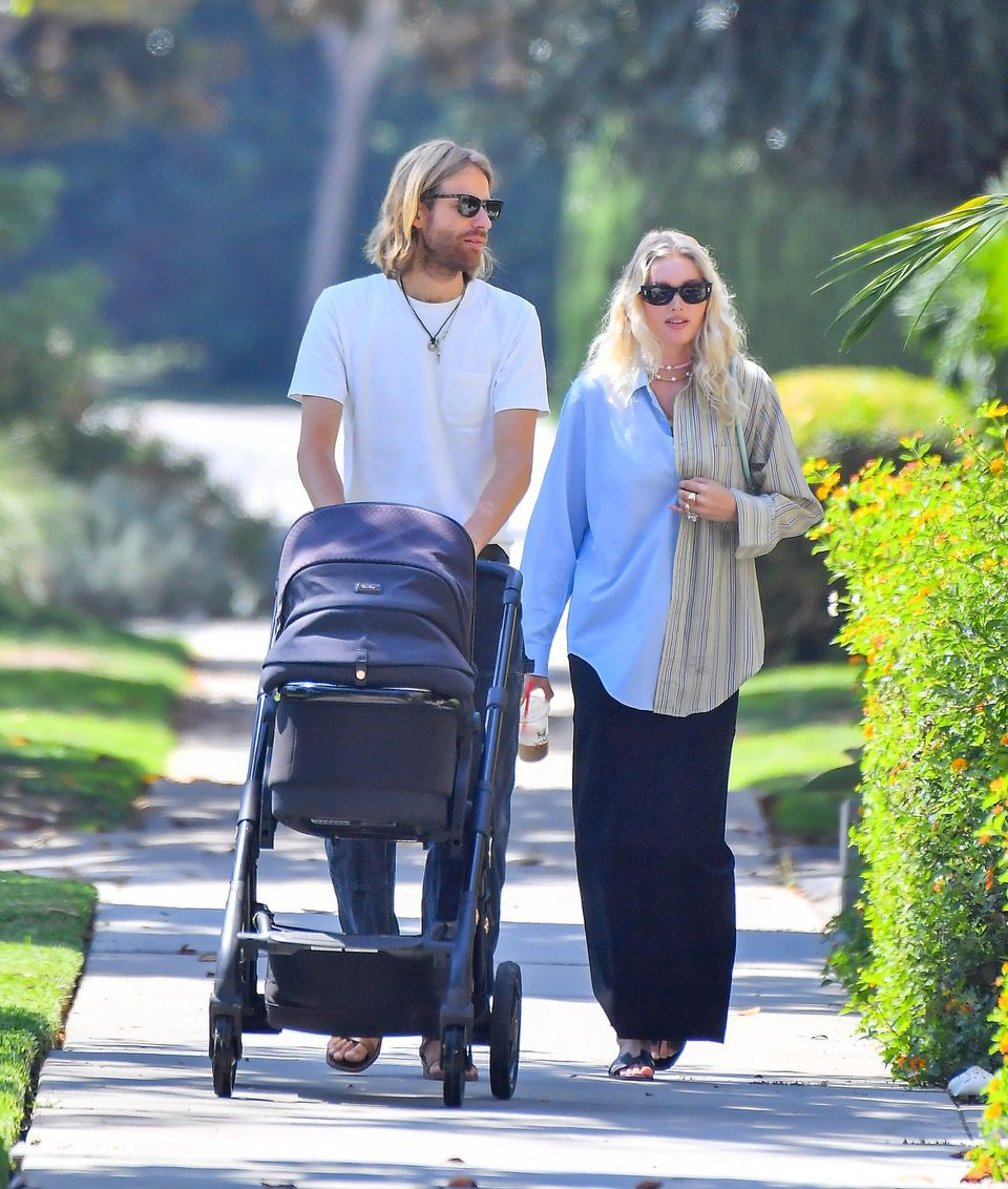 EXCLUSIVE: Elsa Hosk and her partner Tom Daly head out for a walk to grab some coffee in Pasadena