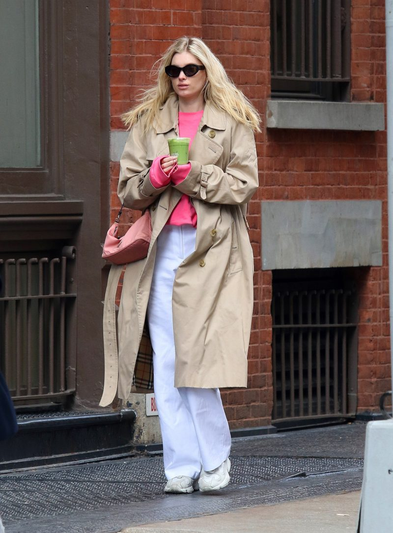 Elsa Hosk has a bad hair day on a windy afternoon in NYC