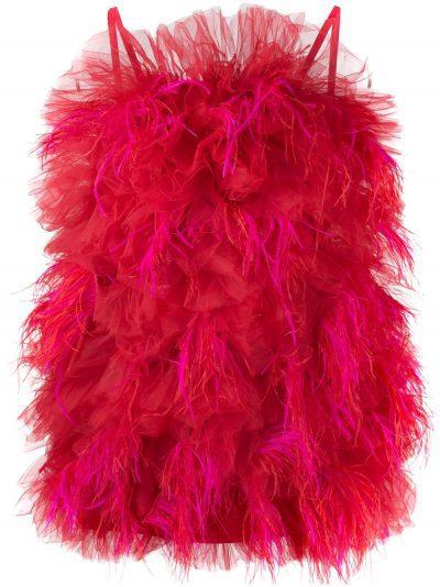 Red Ruffled Tulle Mini Dress
