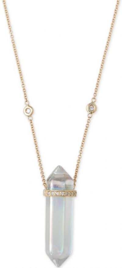 Gold Double Point Crystal Necklace-Jacquie Aiche