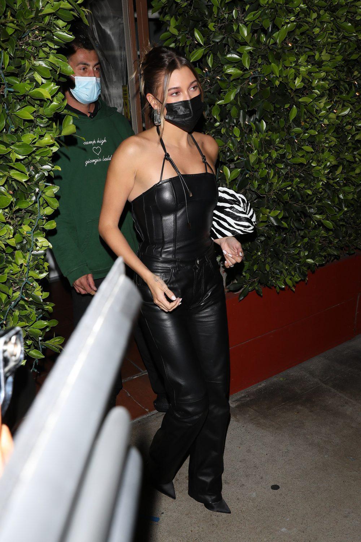 Hailey Bieber grabs dinner at Giorgio Baldi