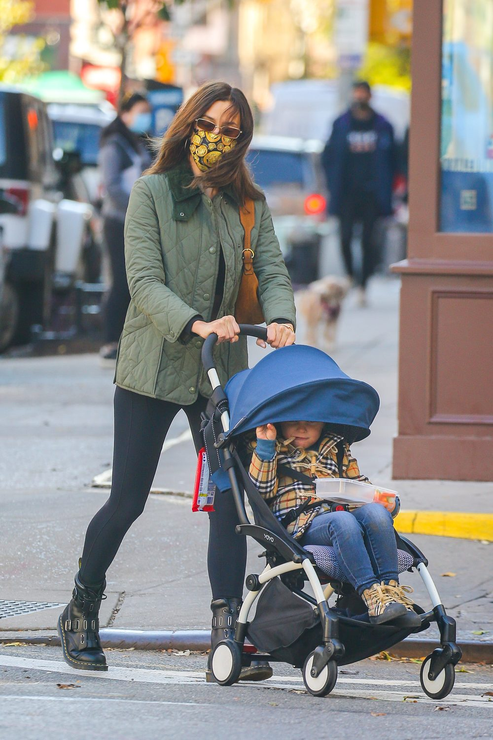Irina Shayk seen out on a walk with daughter Leah in NYC