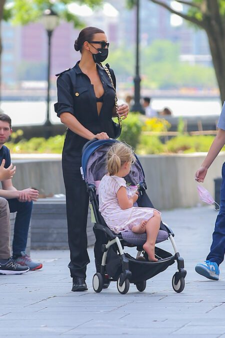 Model Irina Shayk is seen taking a stroll with daughter Leah Cooper in NYC