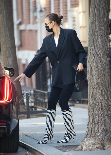 Irina Shayk is seen taking their daughter Lea for a stroll in New York City