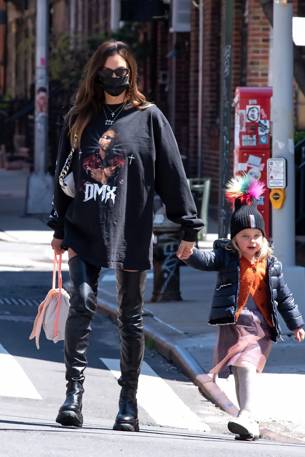 Irina Shayk Wears High Boots and a DMX T Shirt in NYC