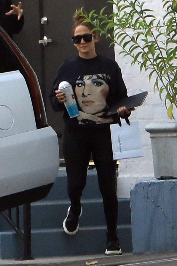 Jennifer Lopez was spotted leaving skincare center in Beverly Hills wearing a sweater with Barbra Streisand on it