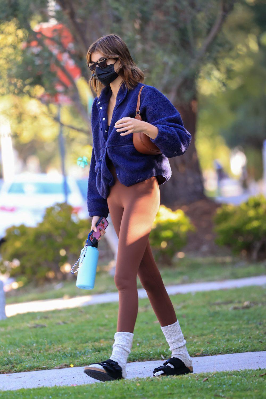 Kaia Gerber seen leaving her Pilates class