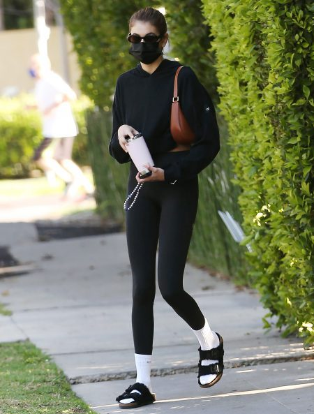 Model Kaia Gerber leaving pilates class in West Hollywood