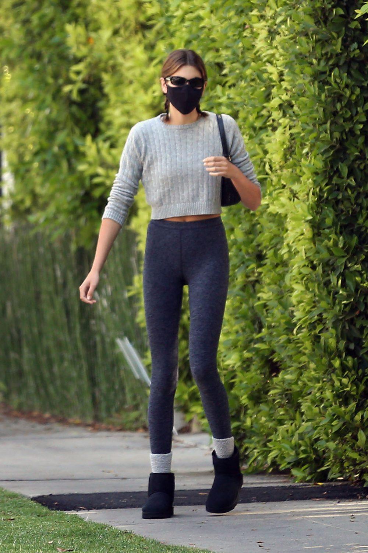 Kaia Gerber is seen leaving pilates class
