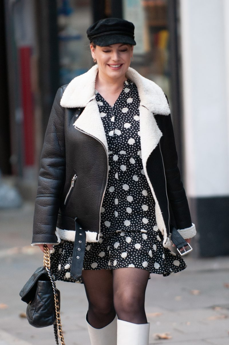 Kelly Brook seen arriving at Global Studios Heart FM 7 October 2020 London UK