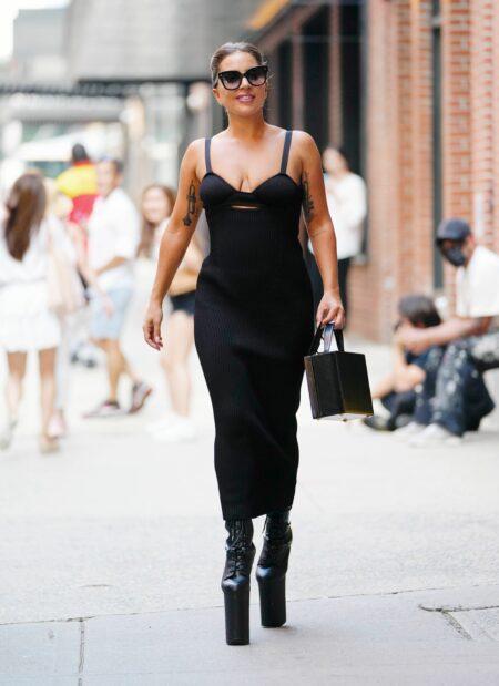 Lady Gaga exits a studio in New York
