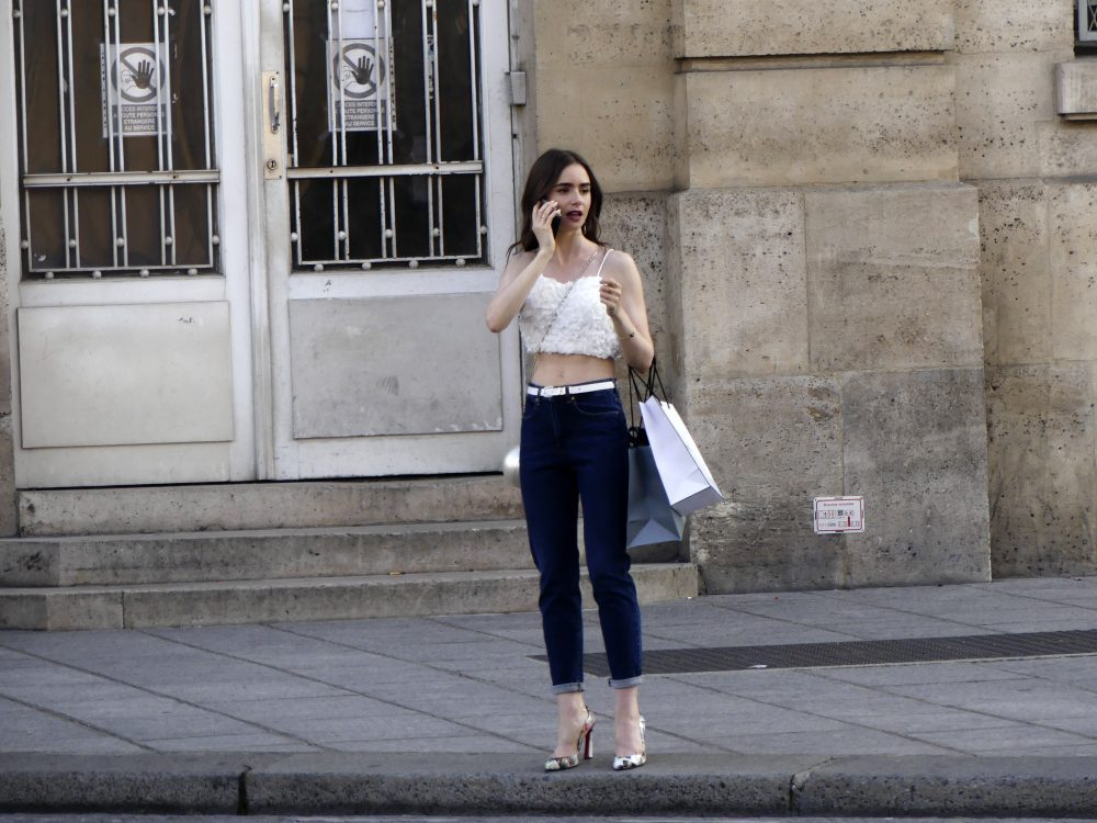 Lily Collins seen filming Emily in Paris