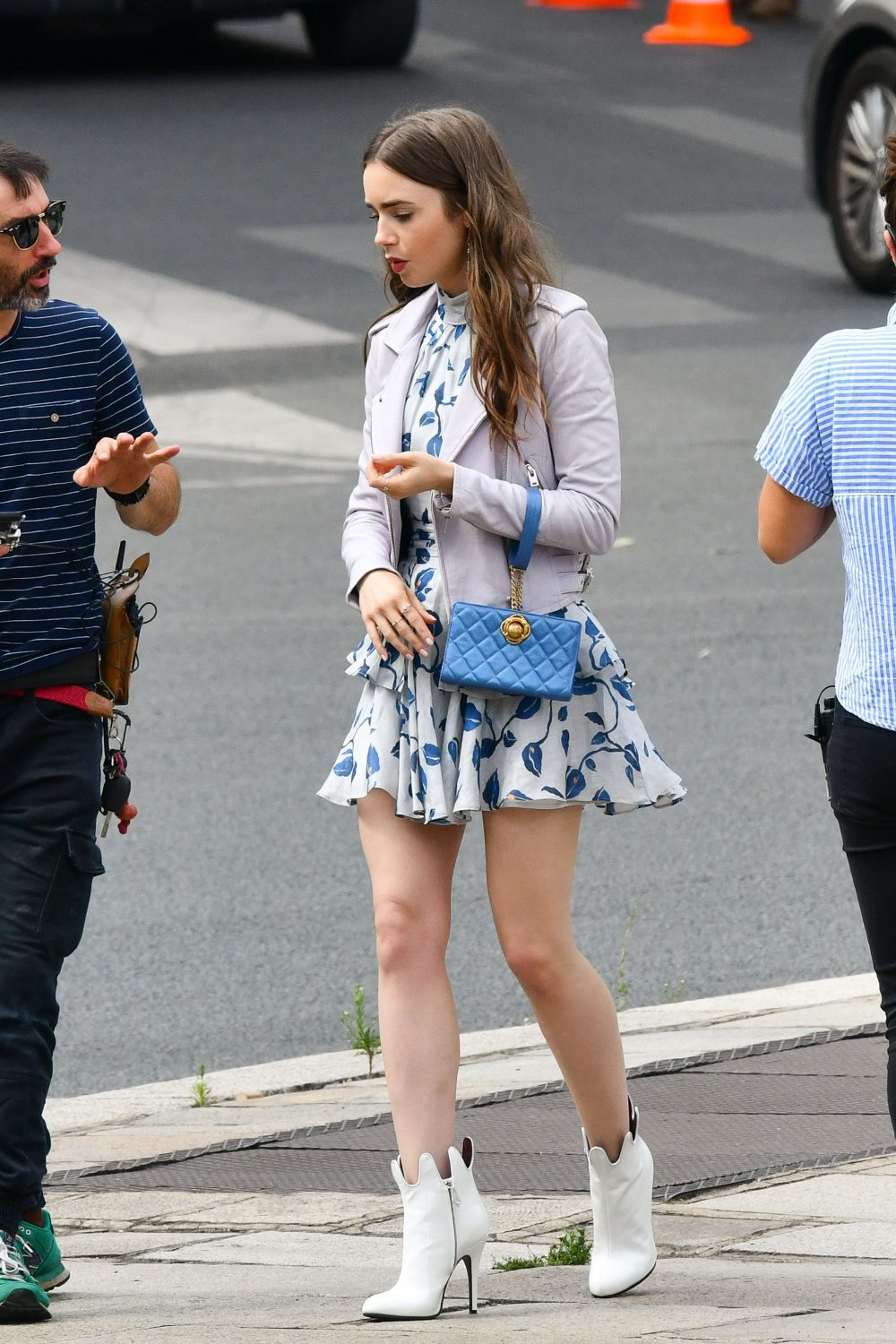 Lily Collins during the filming of Emily in Paris