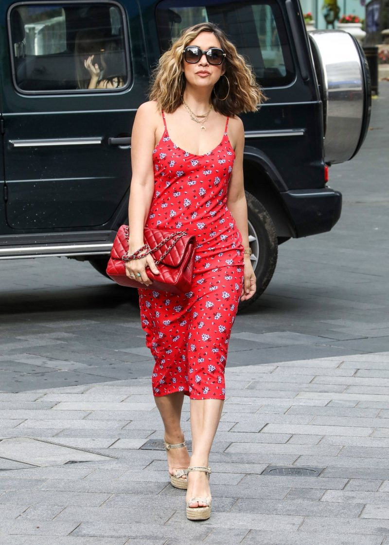 Myleene Klass arrives at the Global Radio Studios in London, UK - 21 Aug 2020