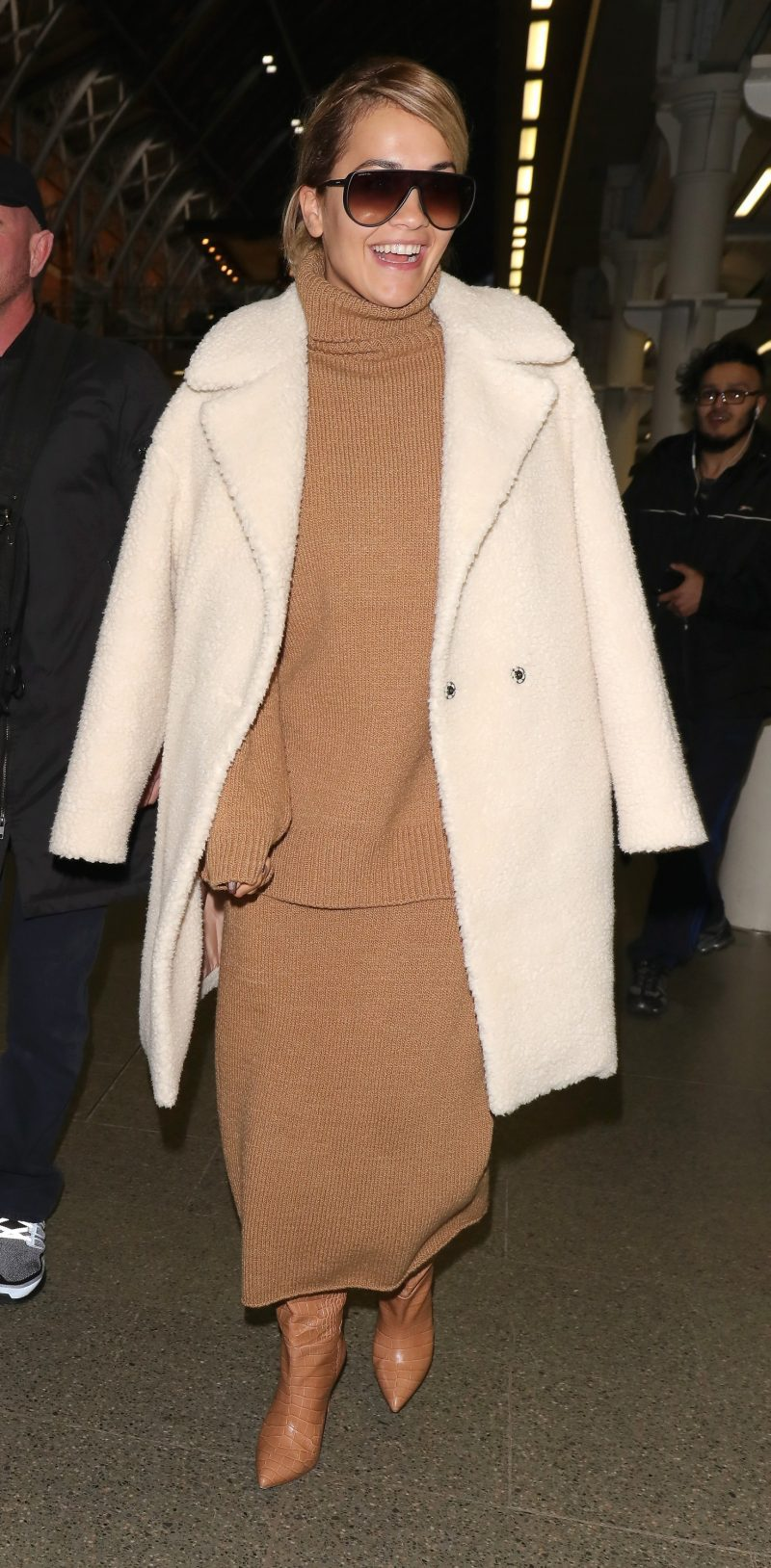 Rita Ora arrives at St Pancras station after attending Paris Fashion Week