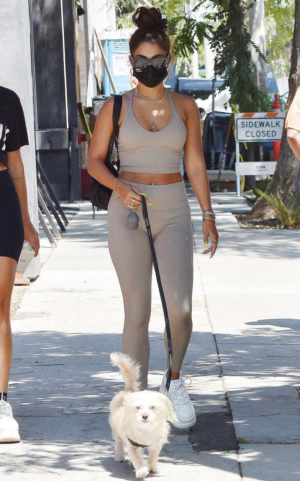Vanessa Hudgens walking her dog in Los Angeles