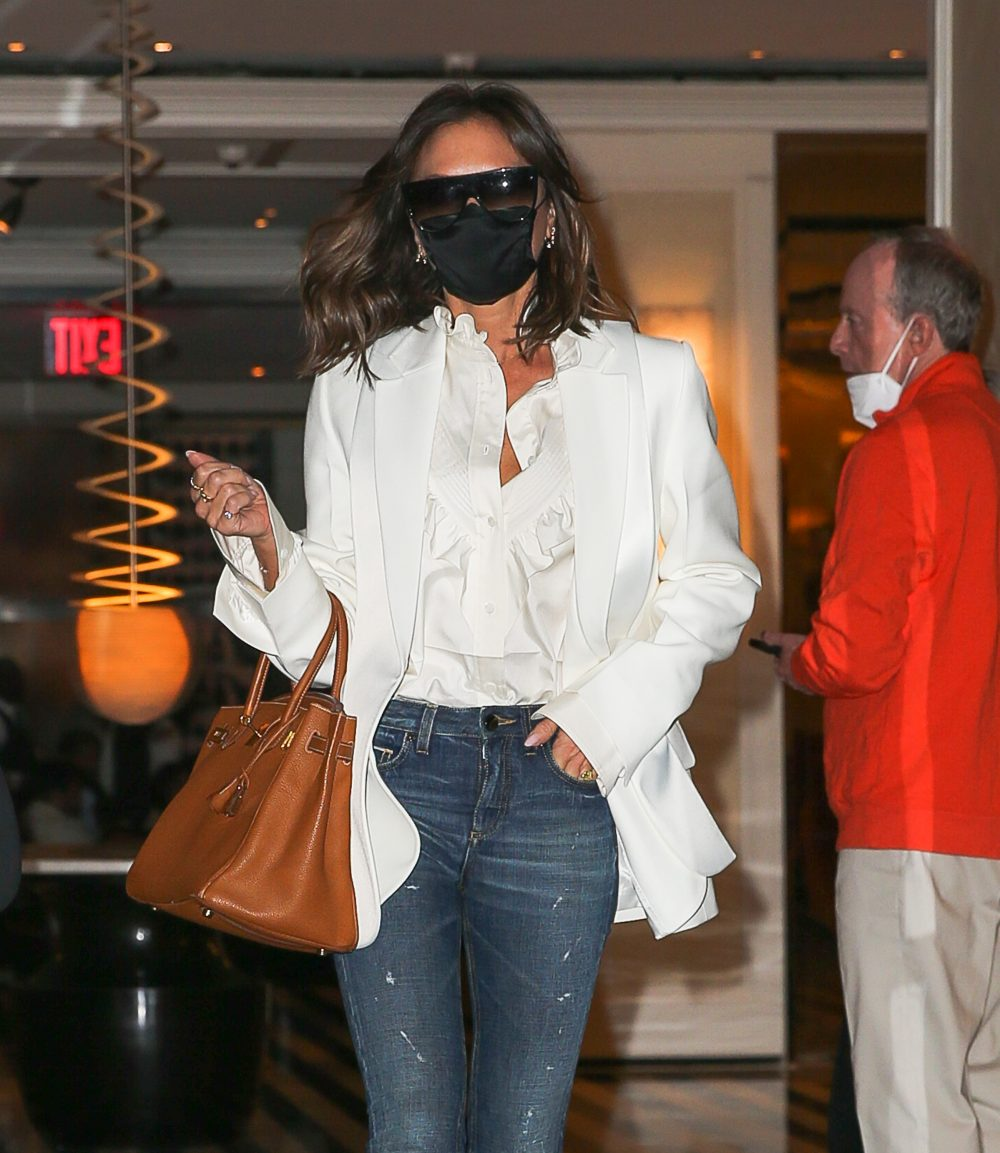 Victoria Beckham seen leaving the Mark Hotel in NYC