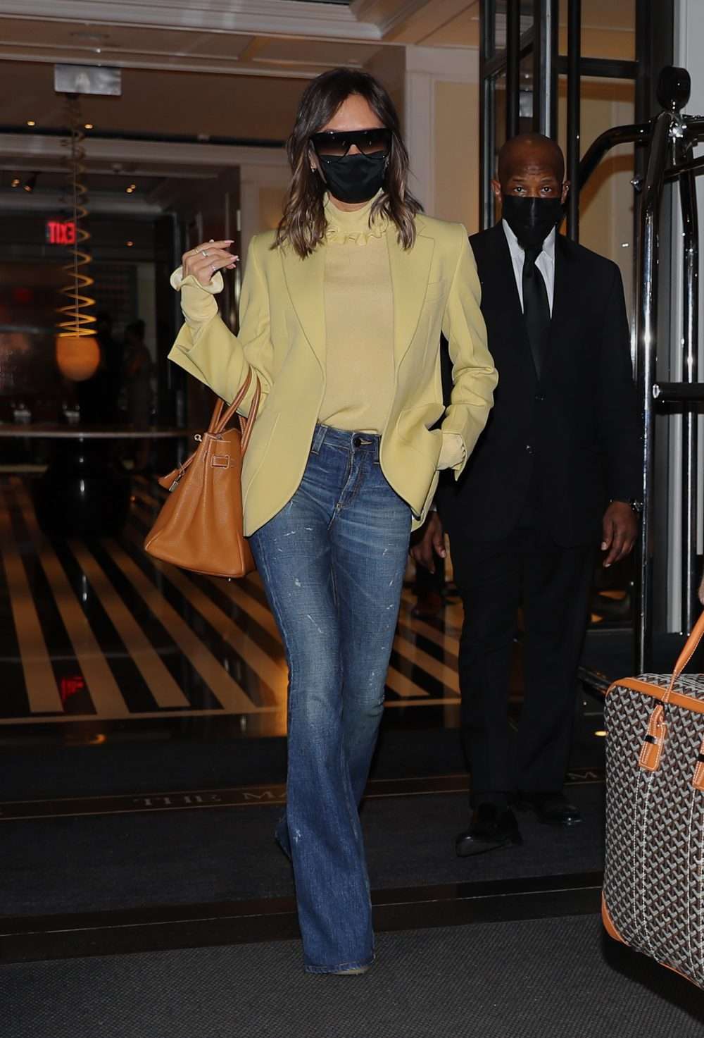 Victoria Beckham and David Beckham were spotted leaving The Mark Hotel in NYC, heading to the Airport